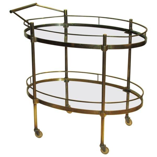 Brass Bar Cart Italy 1960's