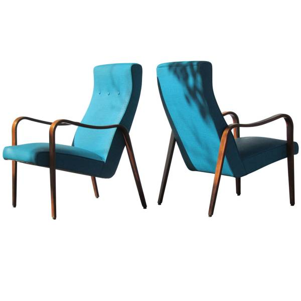 Pair of Thonet Modernist Streamlined Bentwood Armchairs