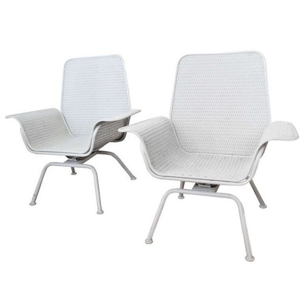 1960's Wicker & Iron Chairs by Woodard