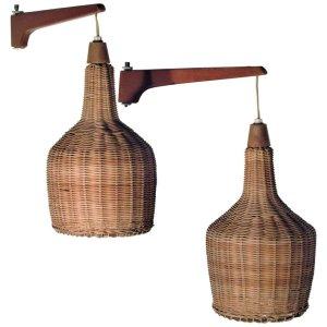Pair of Danish Modern Teak and Wicker Pendant Lamps
