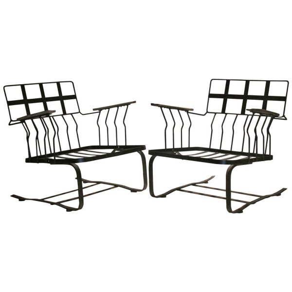 Modernist Wrought Iron Cantilever Armchairs by Woodard
