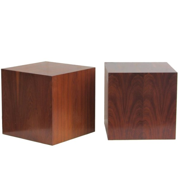 Mid Century Walnut Cube Tables
