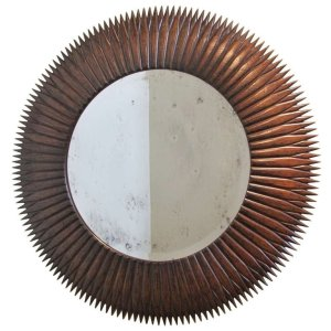Italian Modernist Rosewood Sunburst Mirror