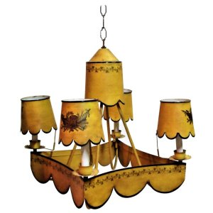 Italian Tin Tole Yellow Paint Decorated Chandelier