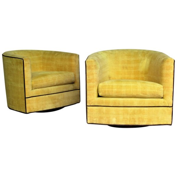 Milo Baughman style Swivel Barrel Chairs 1970's