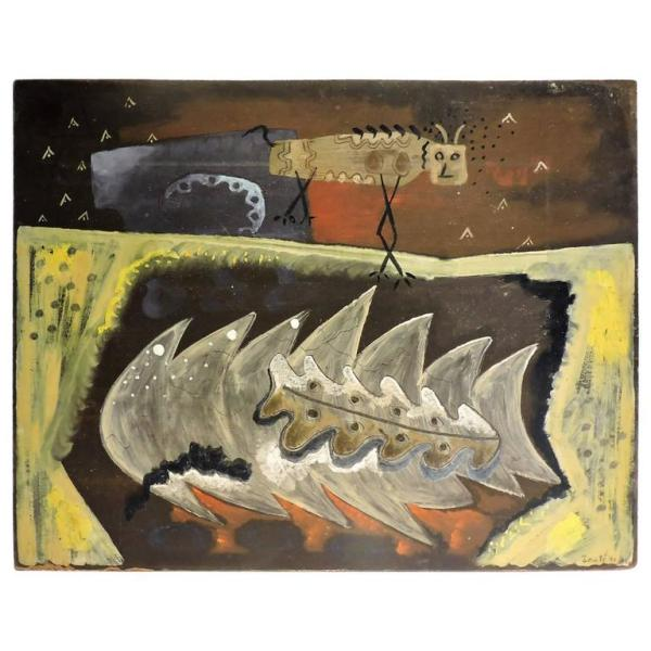 Primitive Outsider Modernist Painting by Zoute