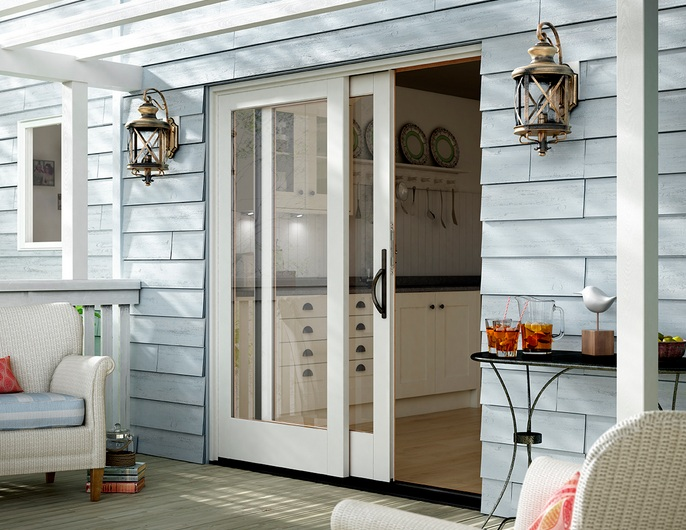 sliding french patio doors with single