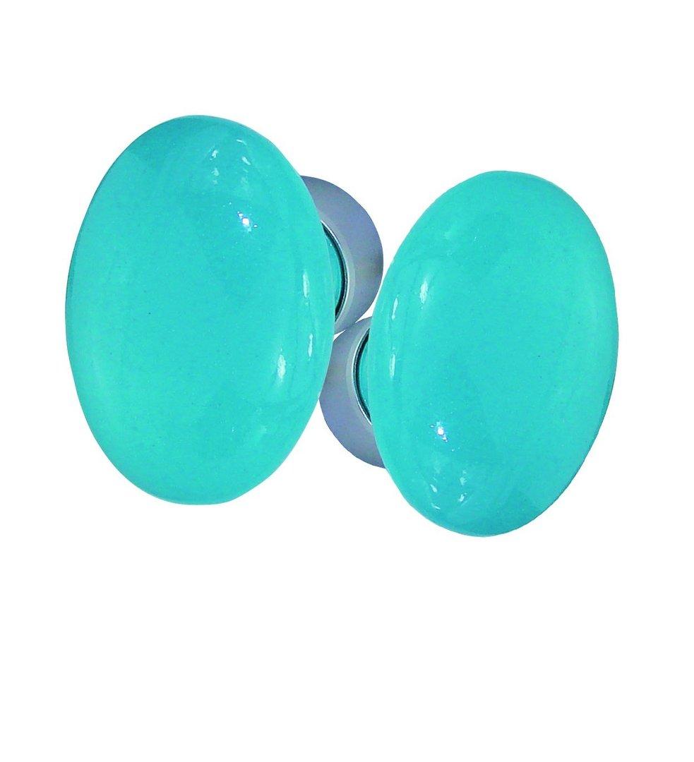poignees ovale porcelaine bleu lagon