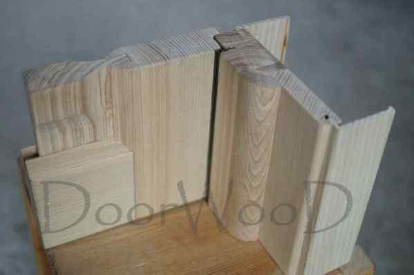 Разрез двери и короба, дверь в разрезе, коробка с наличником в паз, полотно двери с наплывом
