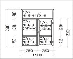 Цена - 750$ - Оконный блок с дверью и фрамугой.