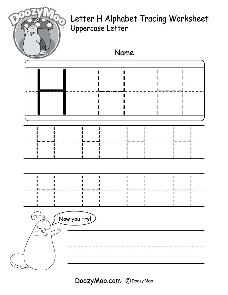 Lowercase Letter H Tracing Worksheet Doozy Moo