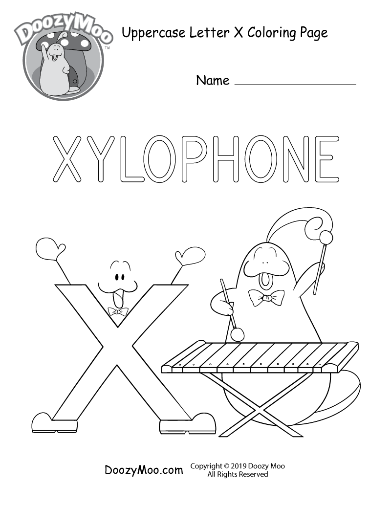 Cute Uppercase Letter X Coloring Page Free Printable Doozy Moo