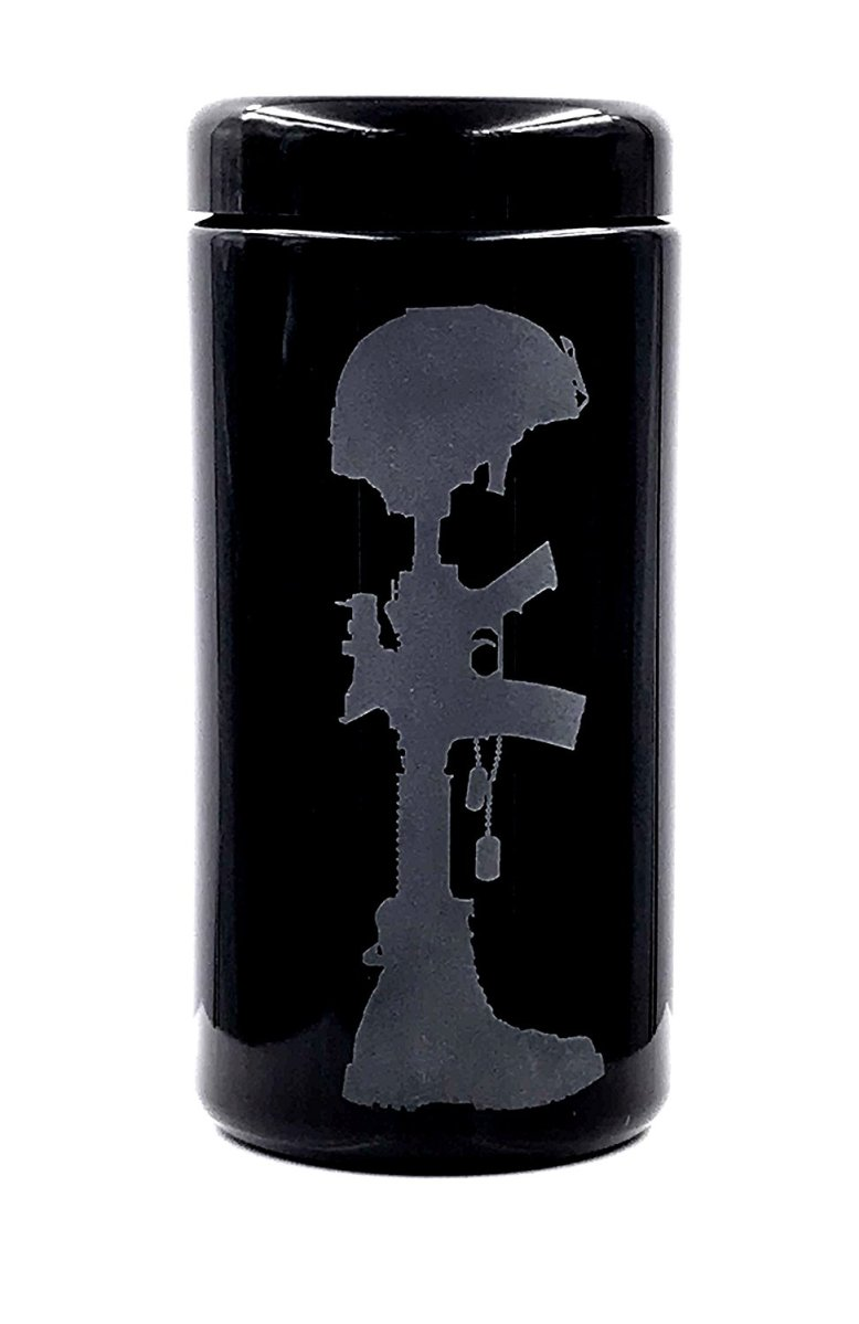Dope Jars® 1 Liter - Deep Etched Design: Veteran Design