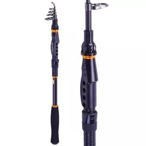 Sougayilang Fishing Rod - 24 Ton Carbon Fiber, Portable Telescopic Super Hard Ultralight Fishing Pole for Travel Surf Saltwater Freshwater Bass Boat Fishing