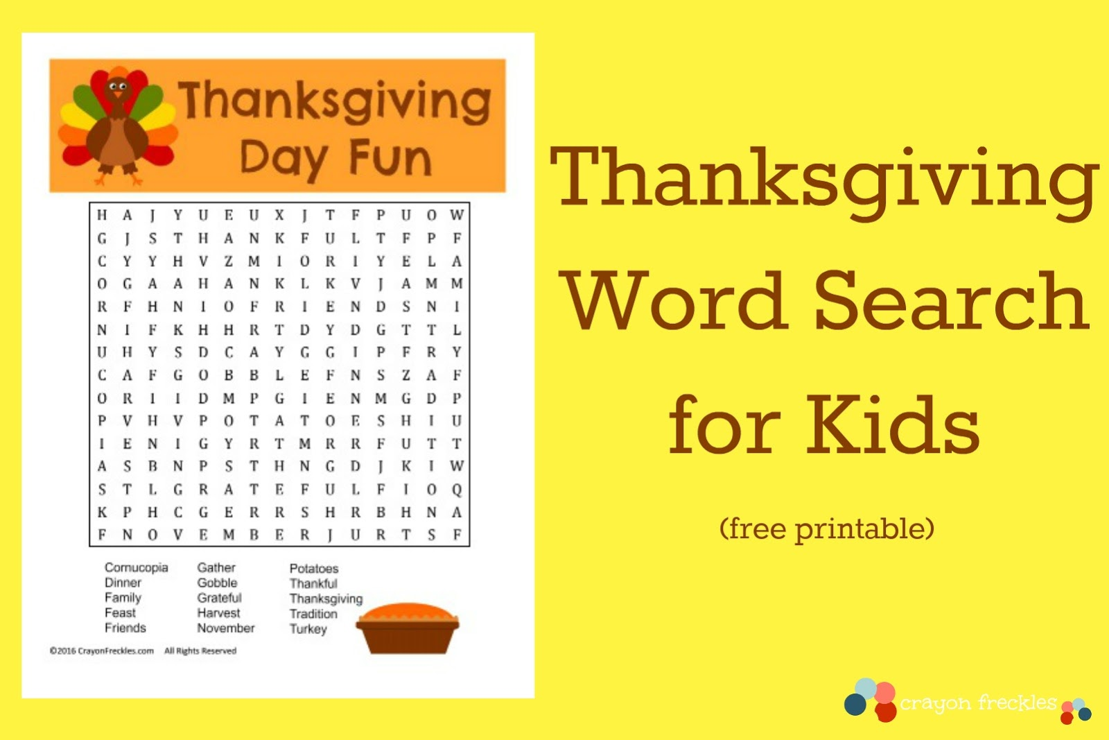 Thanksgiving Word Search For Kids Free Printable