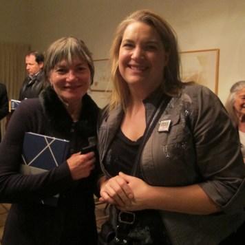 Barbara Lambrecht and Sarah Weber at the Press & VIP event hosted by DOCOMOMO at the beautiful, historic Village Green.