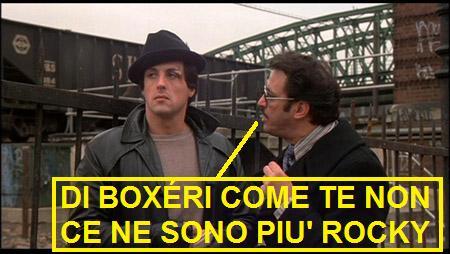 Scena da Rocky (1976) con vignetta comica aggiunta che legge: di boxéeri come te non ce ne sono più, Rocky
