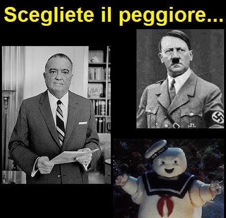 J. Edgar Hoover e Hitler messi a confronto con l'uomo della pubblicità dei Marshmallow dal film Ghostbusters