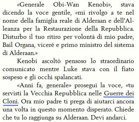 Nuova traduzione del romanzo di Guerre Stellari in cui si parla di Guerre dei Cloni invece di Guerra dei cloni