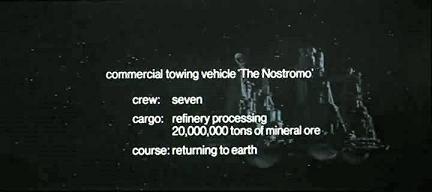 Descrizione d'apertura del film Alien, presenta la nave Nostromo