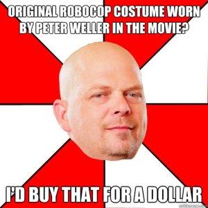 Un costume originale del film RoboCop indossato da Peter Weller? ...Me lo comprerei io per un dollaro.