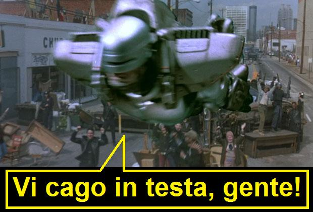 Robocop che vola con jetpack e dice vi cago in testa gente, dal film Robocop 3