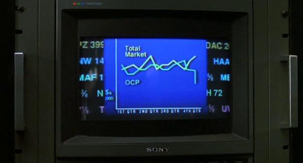 Schermata di computer con il nome della OCP dal film Robocop 3