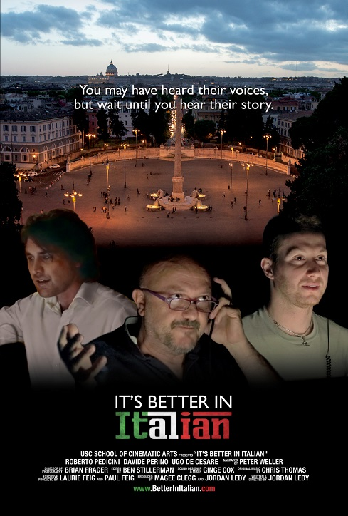 "Copertina del documentario 'it's better in Italian"" di Jordan Ledy"