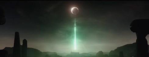 Scena in Rogue One della Morte Nera che spara il suo raggio della morte sul pianeta Jedha