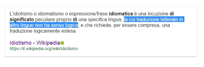definizione di idiomatismo nella traduzione