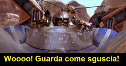 Scena del film Star Wars Episodio 1 La minaccia fantasma: Anakin su uno sguscio da corsa