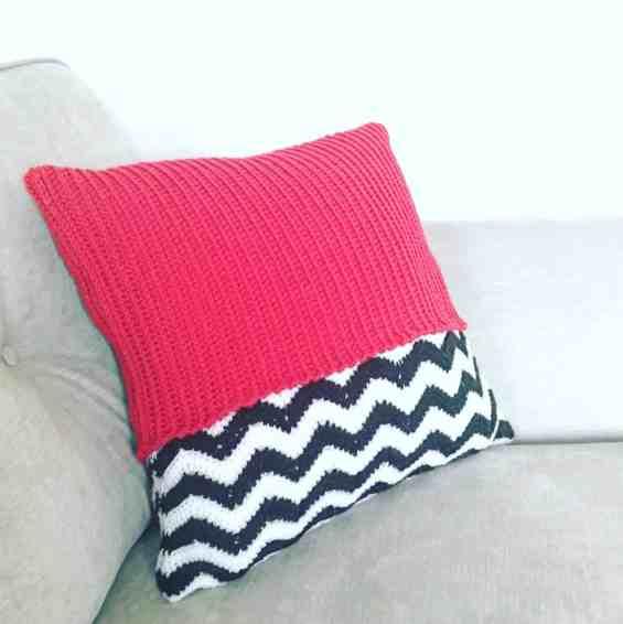 red crochet geometric zig zag cushion