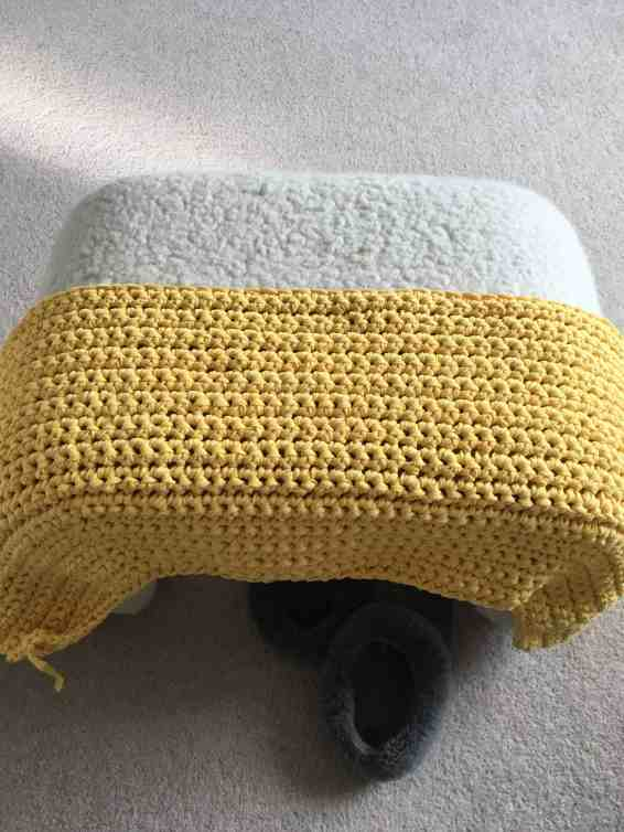 using crochet to upcycle an ikea footstool