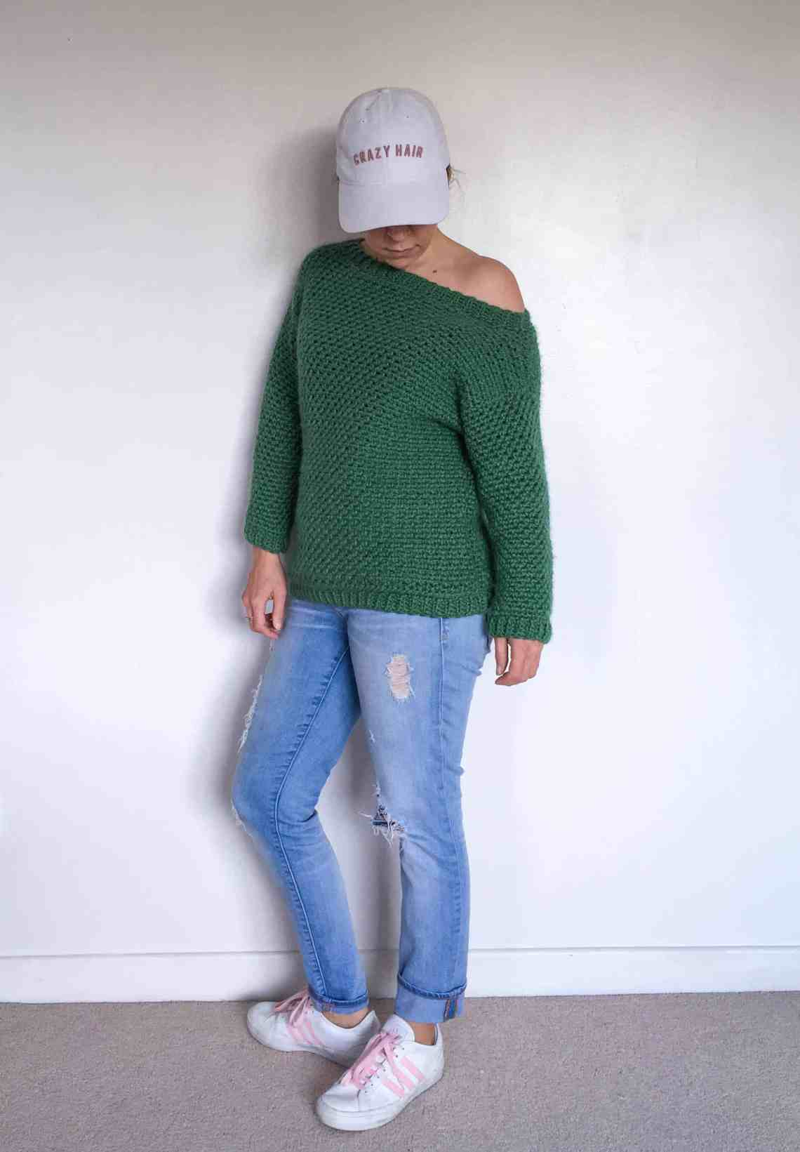 Girl in Jeans, Green Crochet Sweater Messy Hair Don't Care Cap