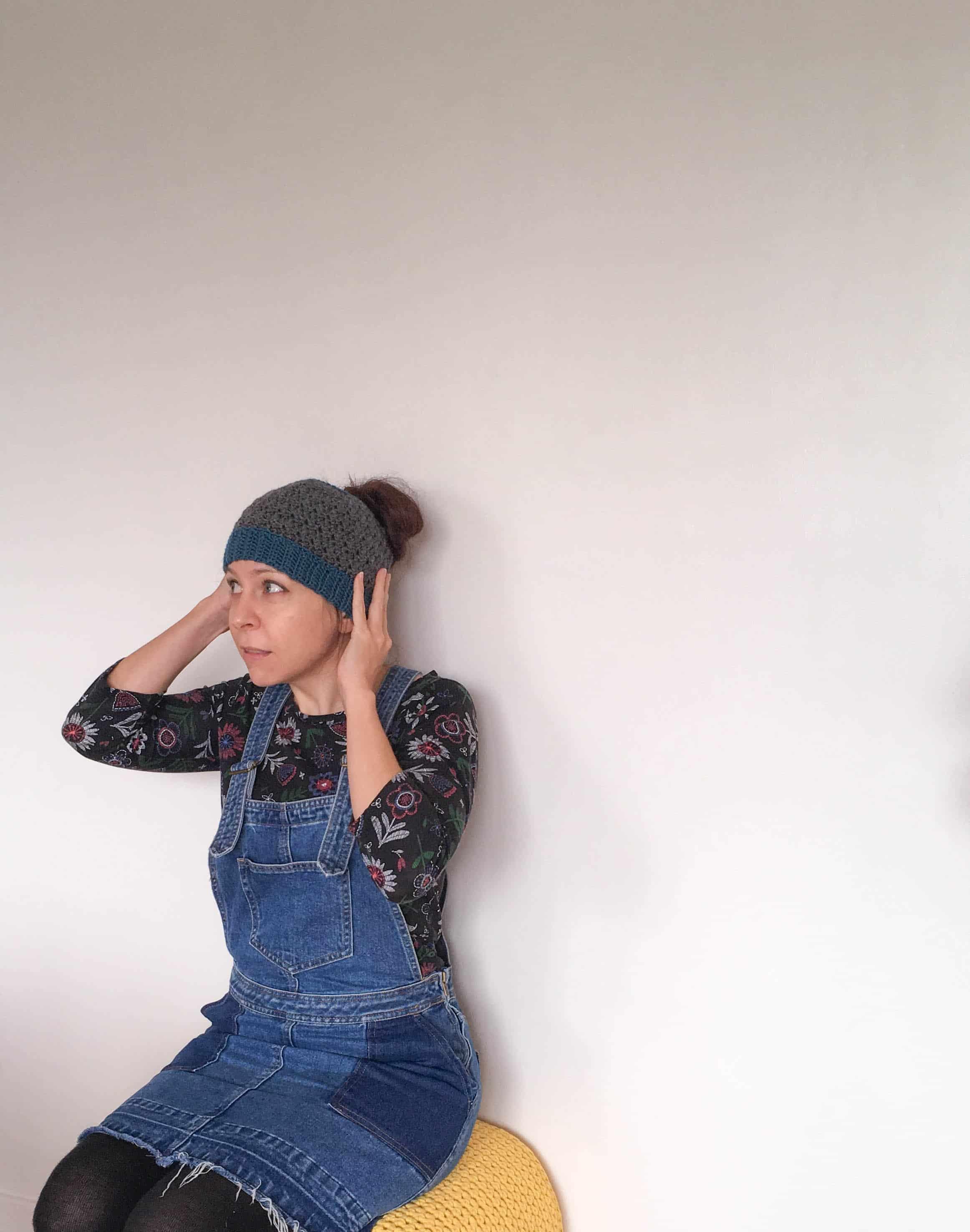 Crochet messy Bun Hat from doradoes.co.uk