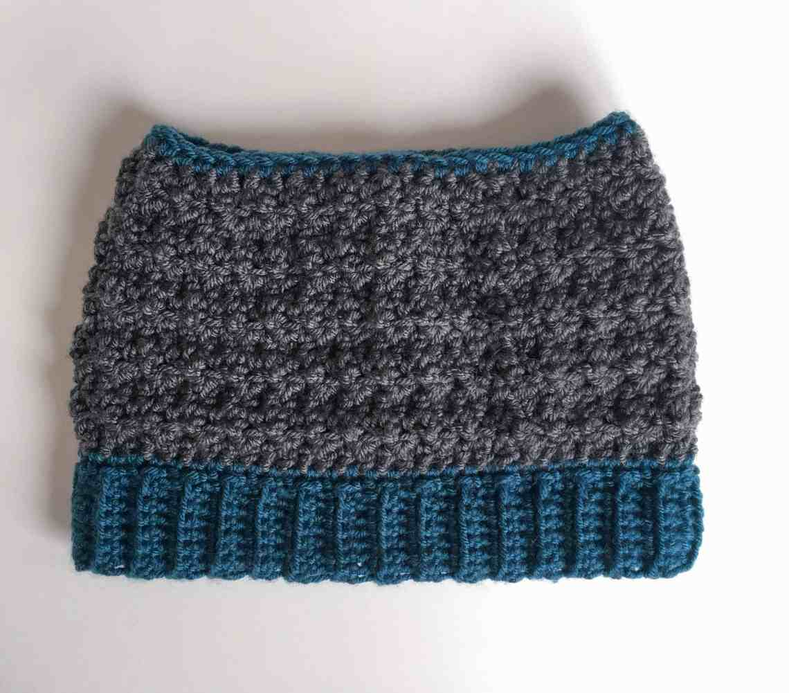 crochet textured messy bun hat