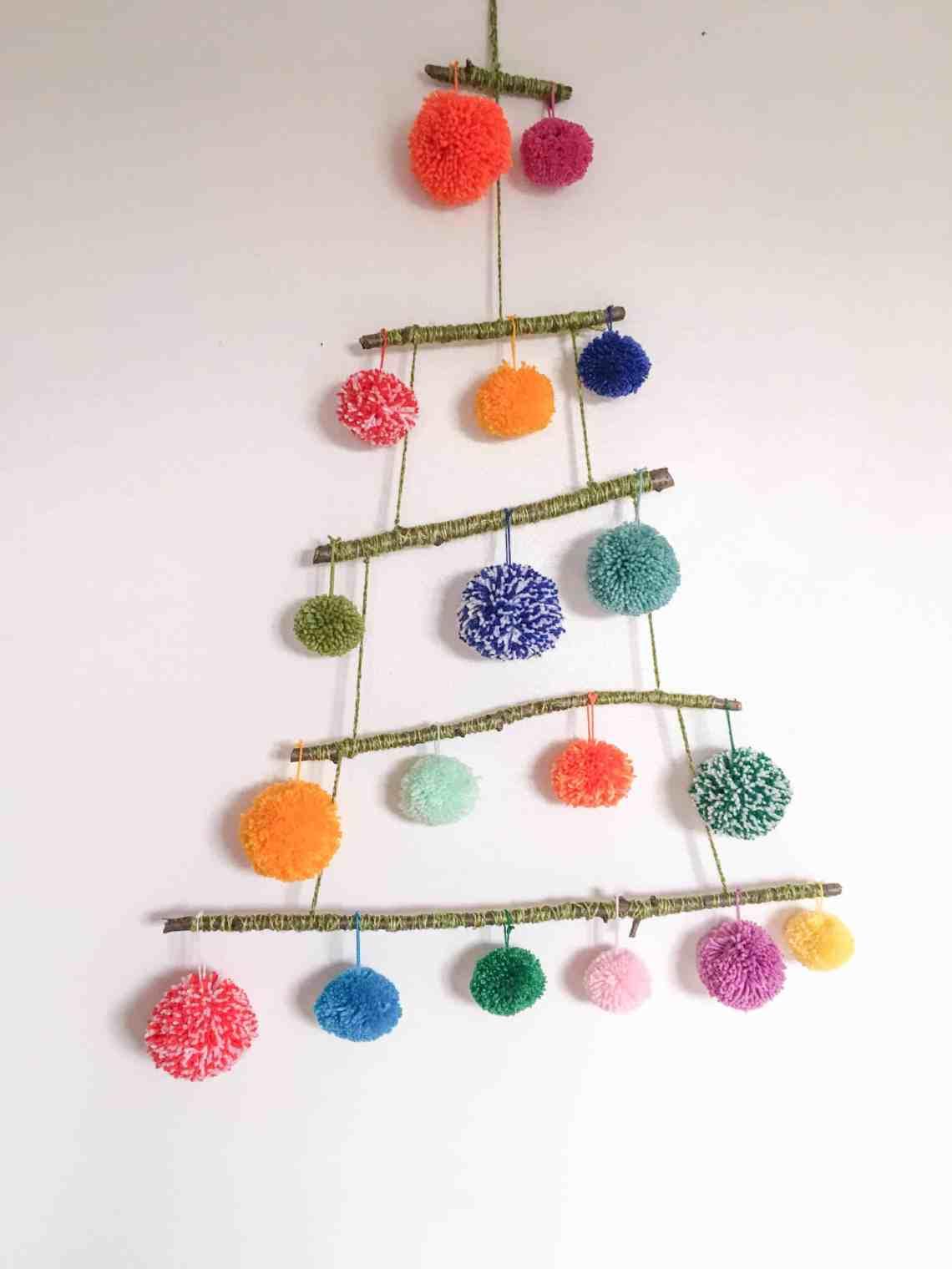 pom-pom alternative christmas tree craft project with colourful yarn