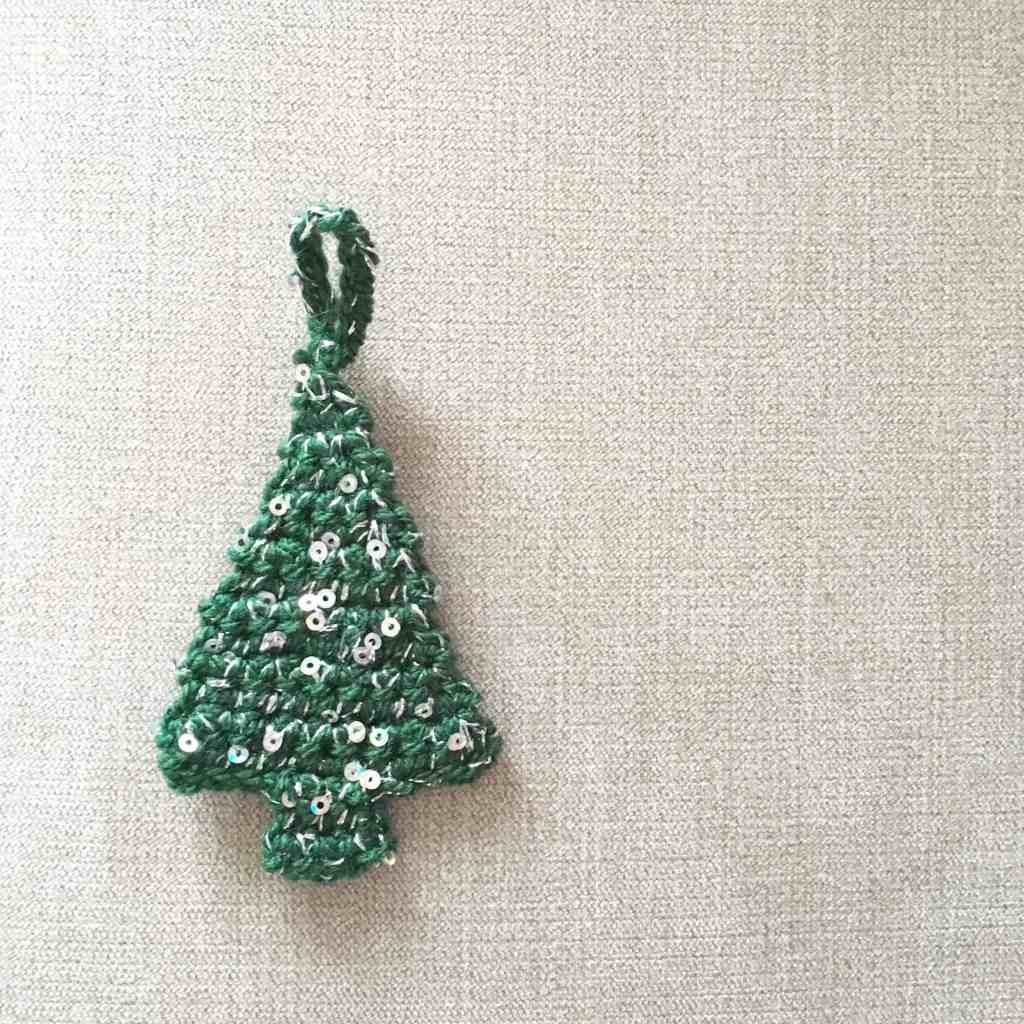 crochet christmas tree decoration with sequins