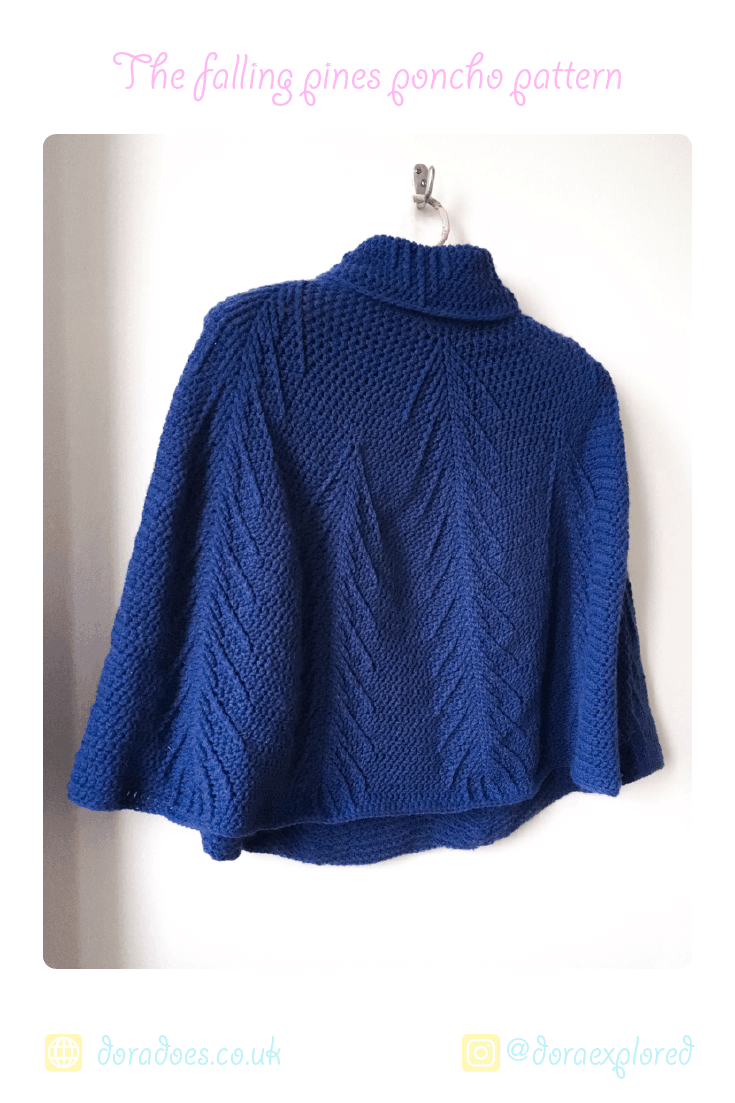 Crochet roll neck cabled lightweight Poncho Pattern in rico baby classic dk