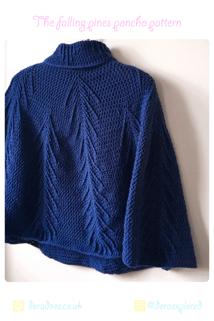 Crochet delicate roll neck cabled poncho pattern