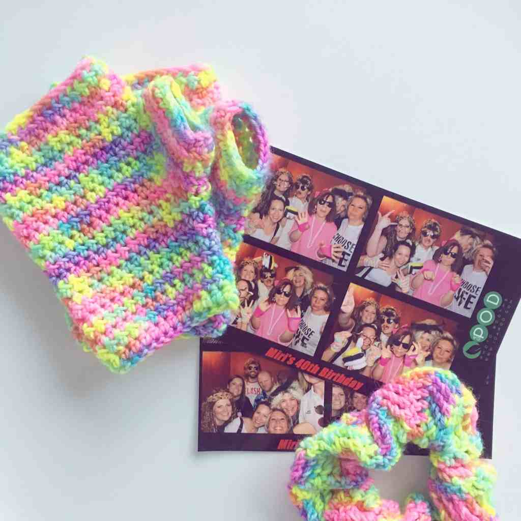 neon crochet wrist warmers and scrunchie 80s Photo Booth picture