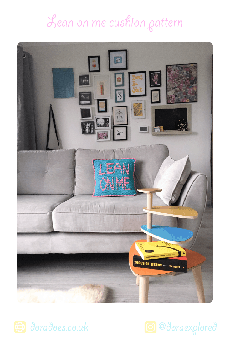 crochet lean on me slogan cushion and gallery wall kitsch