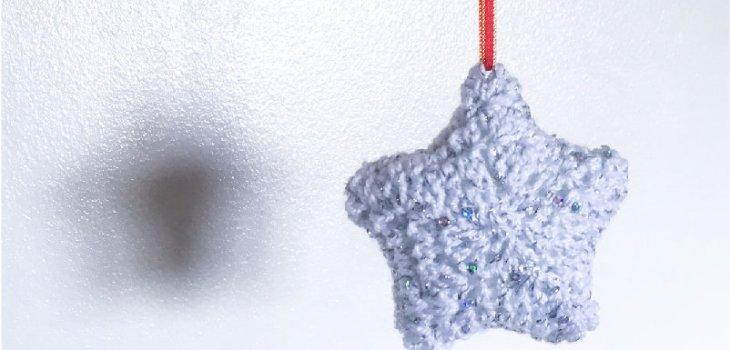 crochet sequin star christmas decoration