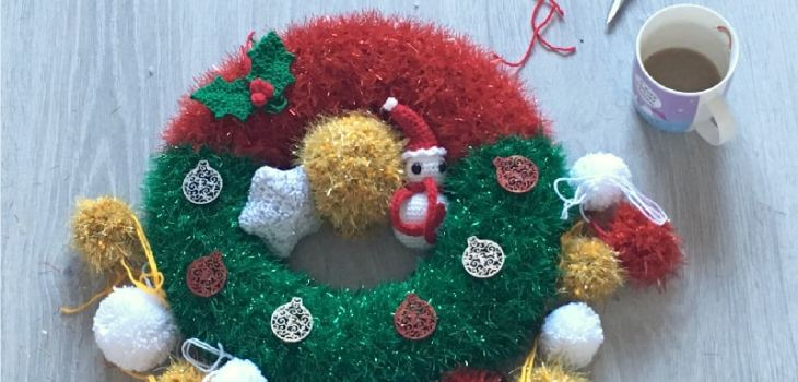 Crochet tinsel Christmas wreath