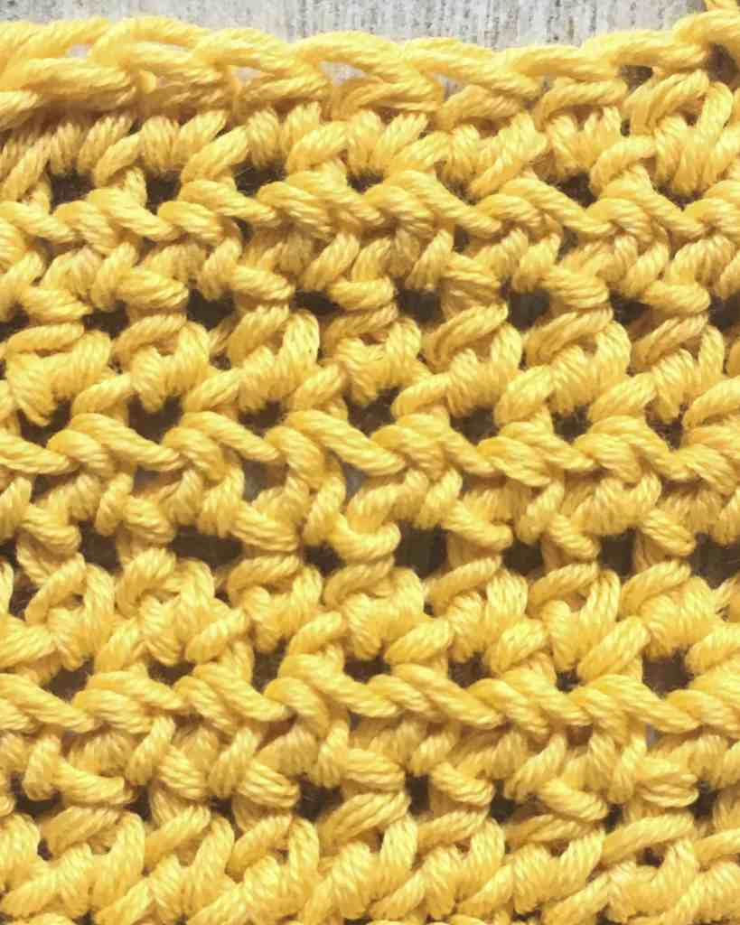 yellow swatch if US half double crochet, UK half treble stitch