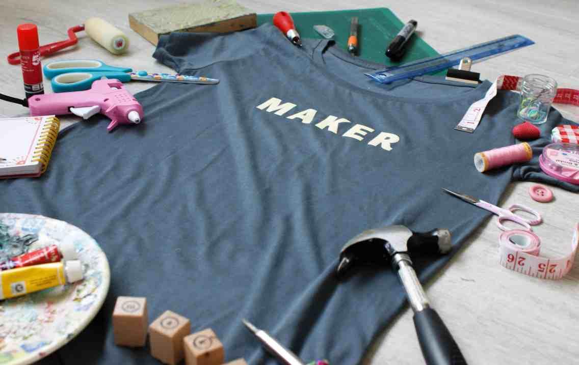 maker t-shirt yellow on grey tools