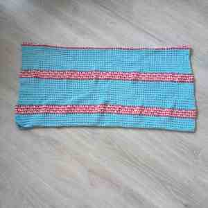stripy crochet rectangle folded
