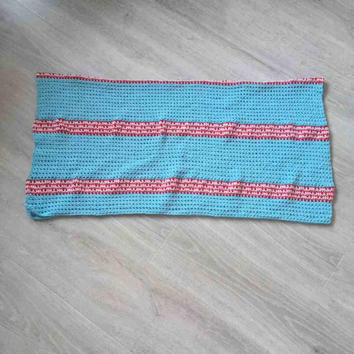 stripy crochet rectangle folded