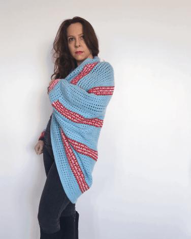 crochet stripy shrug pink red turquoise