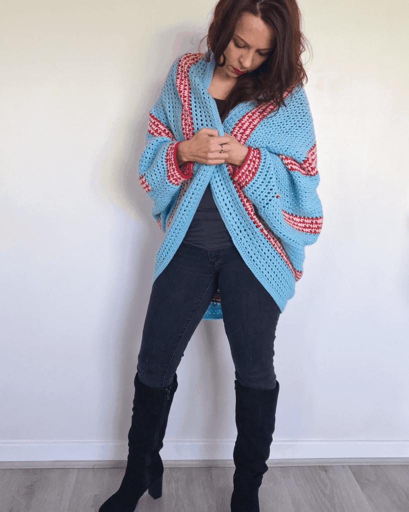 stripy crochet cocoon shrug